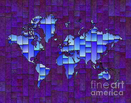 World Map Glasa in Purple and Blue by Eleven Corners
