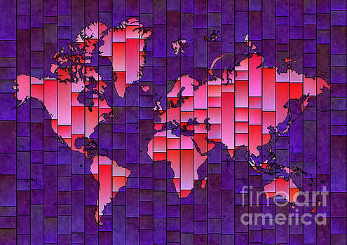 World Map Glasa in Purple and PInk by Eleven Corners