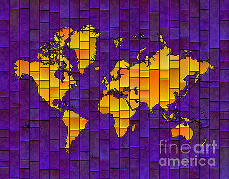 World Map Glasa in Purple and Yellow by Eleven Corners