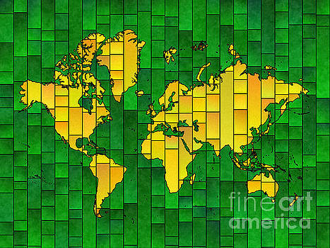 World Map Glasa in Yellow and Green by Eleven Corners