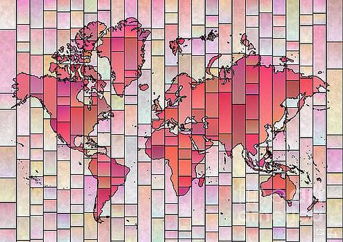 World Map Glasa Pink and Yellow by Eleven Corners