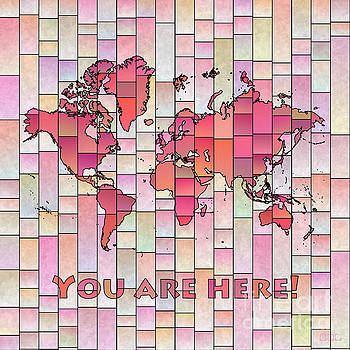 World Map Glasa Pink and Yellow You Are Here by Eleven Corners