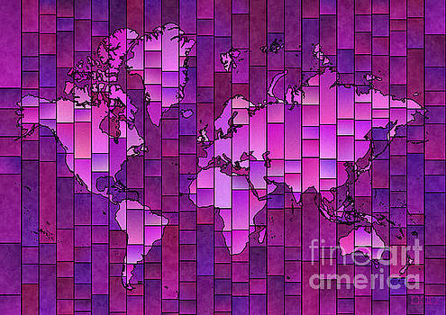 World Map Glasa Purple by Eleven Corners