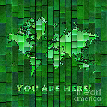 World Map Glasa You Are Here in Green by Eleven Corners