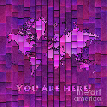 World Map Glasa You Are Here in Purple by Eleven Corners