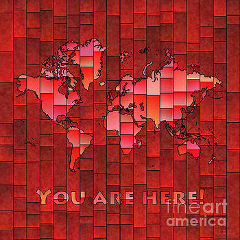 World Map Glasa You Are Here Red by Eleven Corners