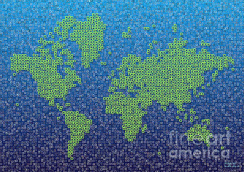 World Map Kotak in Blue and Green by Eleven Corners
