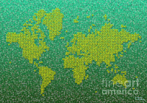 World Map Kotak in Green and Yellow by Eleven Corners