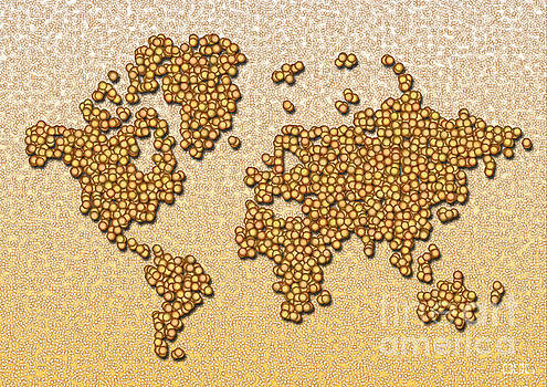 World Map Rolamento in Yellow and Brown by Eleven Corners