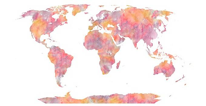 World Map Watercolor painting by Georgeta Blanaru