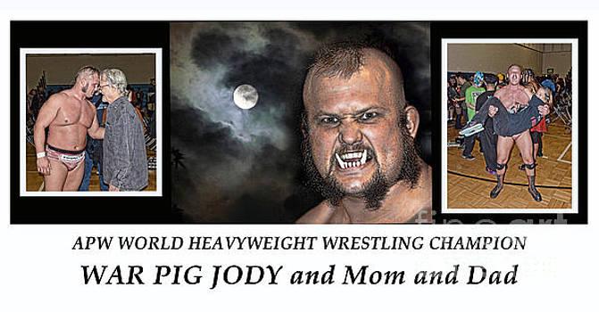 Jim Fitzpatrick - World Wrestling Champion War Pig Jody Kristofferson and his mom Linda and dad Kris Kristofferson