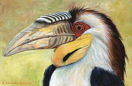 Wreathed Hornbill  by Svetlana Ledneva-Schukina