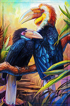 Wreathed Hornbills by Cass Womack