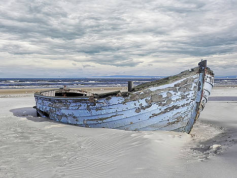 Wreck Of A Barge On A Baltic Beach by Joachim G Pinkawa
