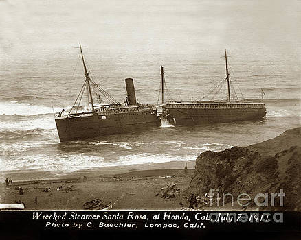 California Views Mr Pat Hathaway Archives - Wreck of the S. S. Santa Rosa, at Honda., Cal., July 7, 1911