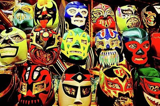 Wrestling Mexican Masks by Brian Sereda