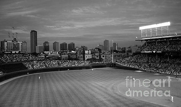 Wrigley Field at Dusk Black and White Version by John Gaffen