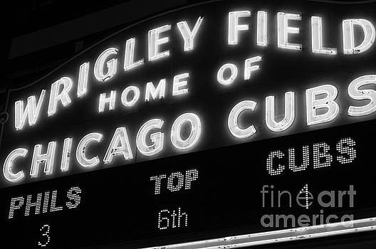Paul Velgos - Wrigley Field Sign Black and White Picture