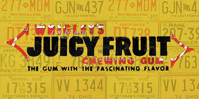 Design Turnpike - Wrigleys Juicy Fruit Gum Recycled Vintage Illinois License Plate Art