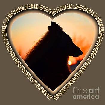 WuffStar Happiness is a Long Haired German Shepherd Heart by Kelly Peet