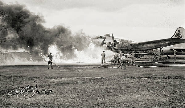 WWII B-17 Fire  by Eric Bjerke Sr