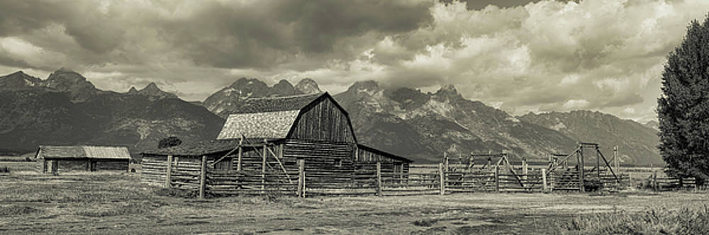 Wyoming Mormon Row Moulton Barn Silver Panorama by James BO Insogna