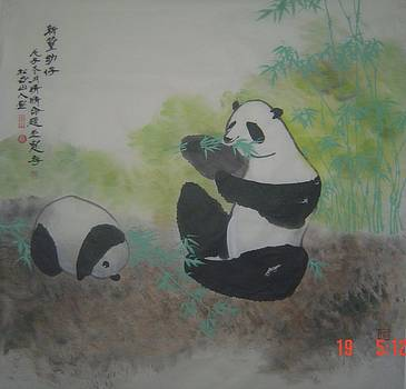 Xa001 Now bamboo and childred of bearcat by Ling Wang