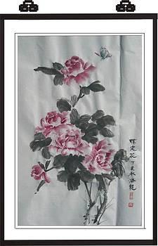 Xh010 Batterfly love flower by Mianyun Wang