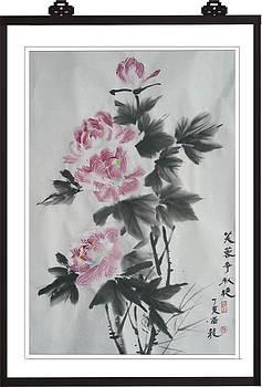 Xh013 Cotton rose hibiscus contend autumn by Mianyun Wang