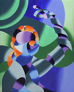 Ximon - Abstract Futurist Figurative Oil Painting by Mark Webster