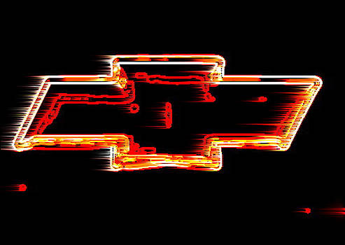 Xl Chevy Bowtie Neon Wind by Katy Hawk
