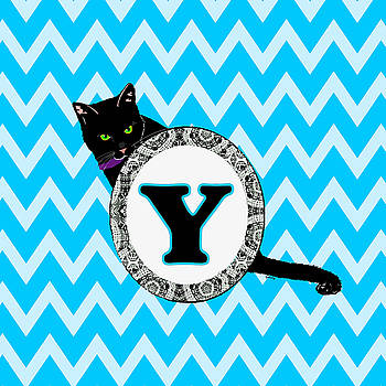 Y Cat Chevron Monogram by Paintings by Gretzky