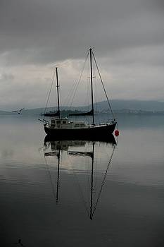 Yacht At Silent Moorings by Lee Stickels