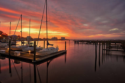 Yacht Basin Sunrise in Southport by Nick Noble