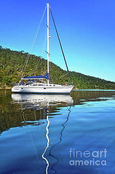 Yacht Reflecting by Kaye Menner by Kaye Menner
