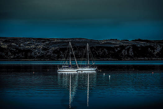 Yachts At Anchor In Moonlight by Tylie Duff