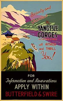 Yangtze gorges, travel poster, 1930 by Vintage Printery