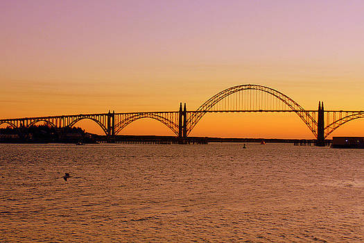 Yaquina  Bay Bridge at Sunset by Dianne Fawbush