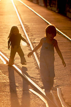 Guy Shultz - Yara and Friend on RR tracks