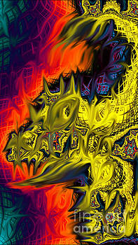 Yellow Abstract Dragon by JD Poplin