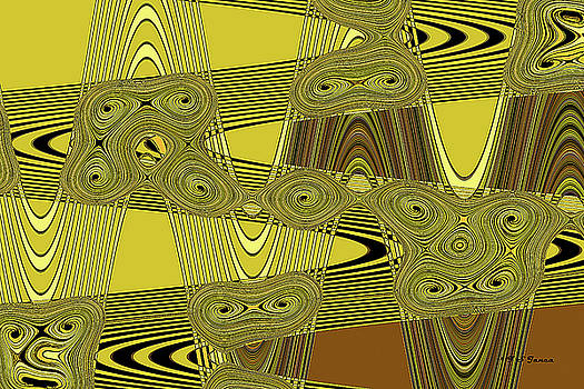 Yellow And Black Wave Intersect by Tom Janca