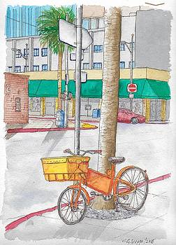 Yellow and orange bicycle in Beverly Hills, California by Carlos G Groppa