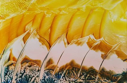 Yellow and white abstract by Lorraine Bradford