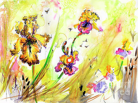 Ginette Callaway - Yellow Bearded Irises and Bees Watercolor Print