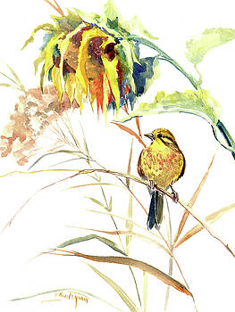 Yellow Bird and Flower, Sunflower and Yellowhammer by Suren Nersisyan