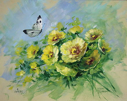 David Jansen - Yellow Blossoms and Butterfly