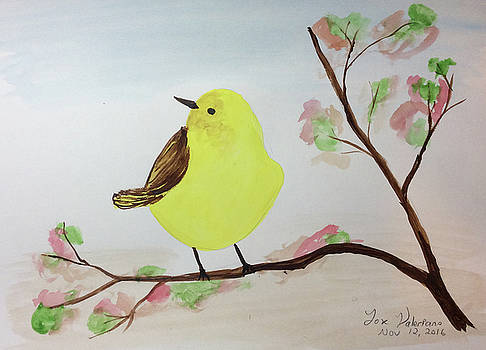 Yellow Chickadee on a branch by M Valeriano