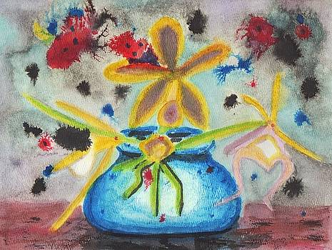 Suzanne  Marie Leclair - Yellow Flower Blue Vase