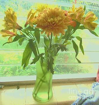 Yellow Flowers On Windowsill by Trudy Brodkin Storace