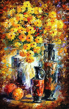 Yellow Flowers - PALETTE KNIFE Oil Painting On Canvas By Leonid Afremov by Leonid Afremov